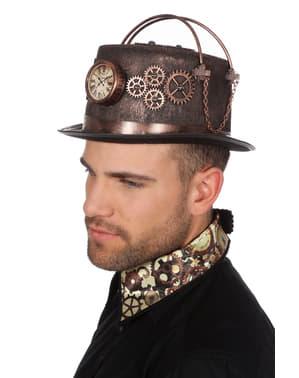 Steampunk hatt med klokke til voksne
