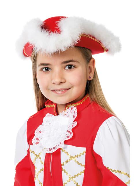 Chapéu de majorette vermelho e branco infantil