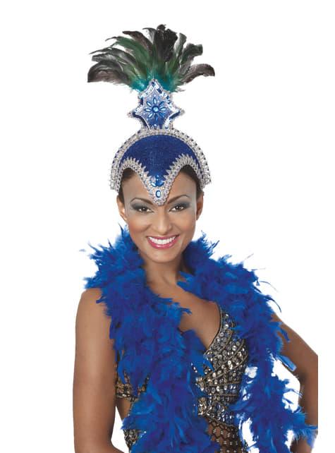 Tocado de carnaval brasileño con plumas azul para mujer
