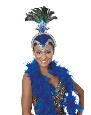 Toucado de carnaval brasileiro com plumas azul para mulher