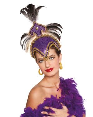 Toucado de carnaval brasileiro com plumas roxo para mulher
