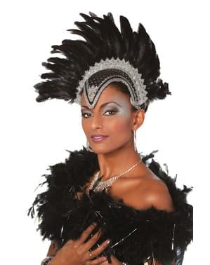 Coiffe carnaval Brésil avec plumes deluxe gris femme