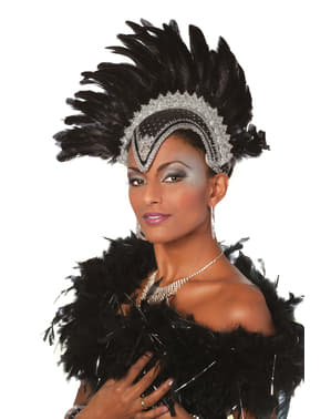 Deluxe grey Brazilian carnival headdress with feathers for women