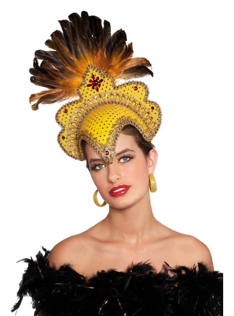 Tocado de carnaval brasileño con plumas deluxe dorado para mujer