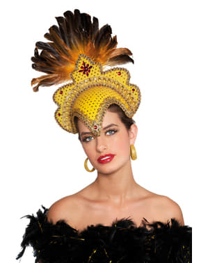 Deluxe gold Brazilian carnival headdress with feathers for women
