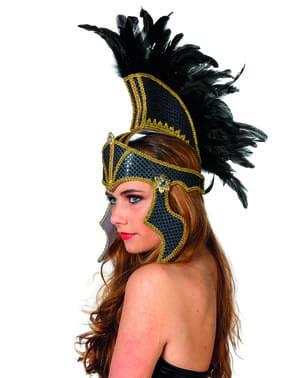 Musta gladiaattori päähine koristeineen aikuisille
