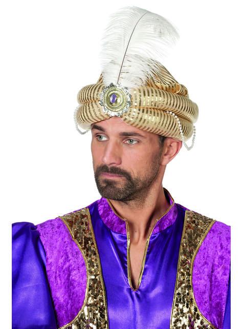 Arabský turban s peřím pro dospělé