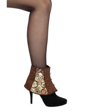Tapa botas de steampunk castanho para adulto