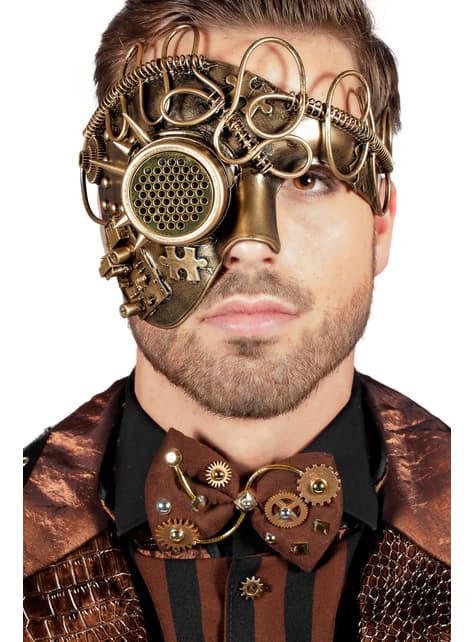 Máscara de steampunk Un Ojo dorada para adulto