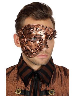 Miedziana maska na pół twarzy steampunk dla dorosłych