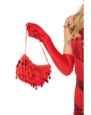 Kabaretová taška s červenými flitrami