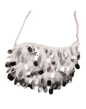 Kabaretová taška so sivými flitrami