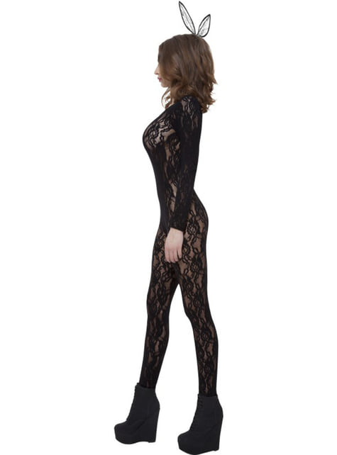 Deluxe black lace body stocking