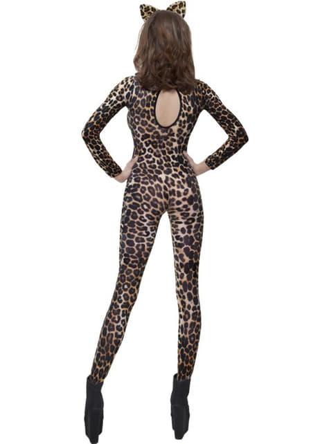 Tætsiddende dragt med leopard print brun