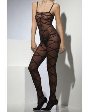 Black criss cross body stocking