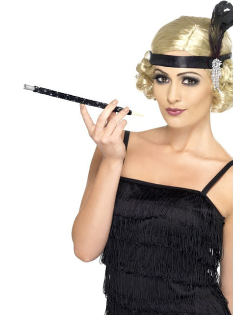 Black 20s style cigarette holder with sequins