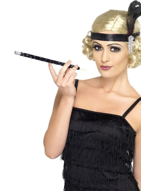 Țigaretă neagră cu paiete stilul anilor 20