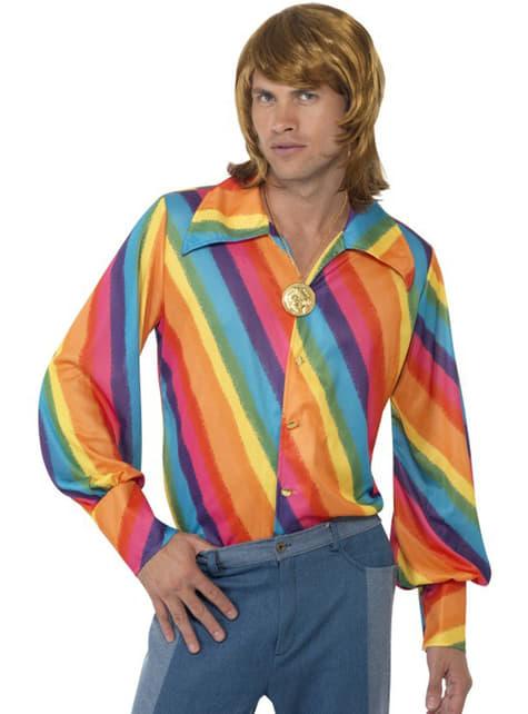 Koszula tęczowa z lat 70 męska