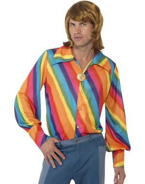 Camisa arco-íris dos anos 70 para homem