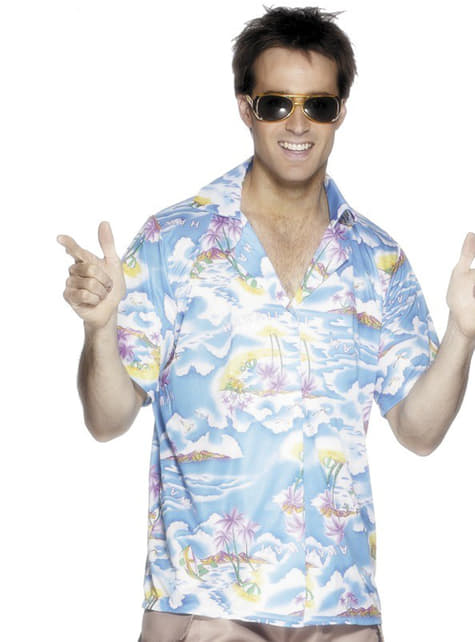Синя хавайска риза за мъж