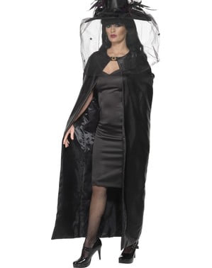 Capa de bruxa preta para adulto