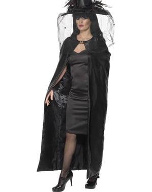 Zwarte heksen cape voor volwassenen