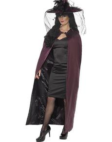black and maroon reversible vampire cape