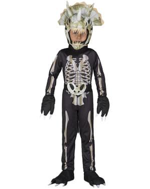Fato de esqueleto de dinossauro para menino