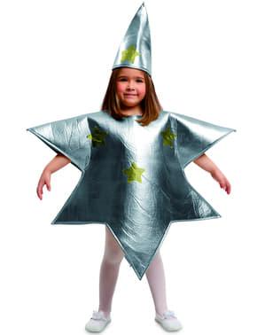 Maskeraddräkt stjärna silver för barn