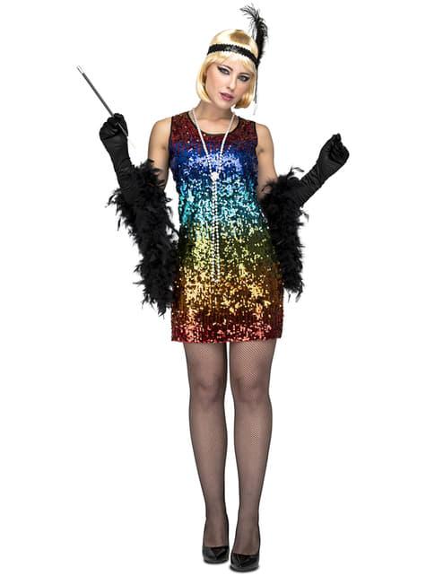 Disfraz de años 20 con lentejuelas multicolor para mujer