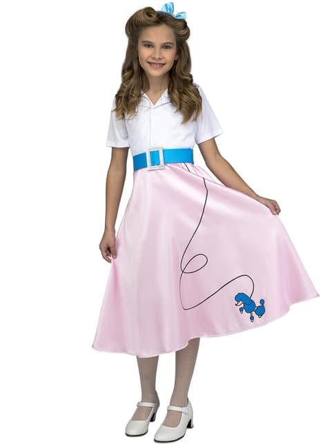 Disfraz de años 50 rosa para niña