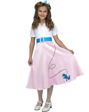Fato de anos 50 cor-de-rosa para menina