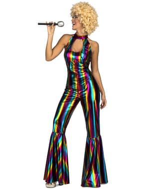 Fato de disco rainbow anos 70 para mulher
