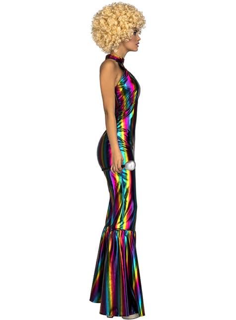 Disfraz de disco rainbow años 70 para mujer