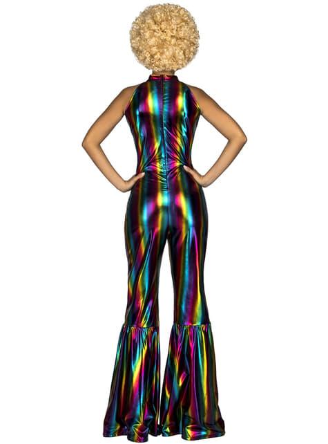 70's disco regenboog kostuum voor vrouw