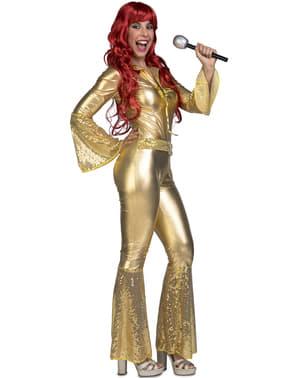 Disfraz de cantante disco años 70 dorado para mujer