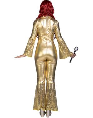 Costum de cântăreț disco anii 70 auriu pentru femeie