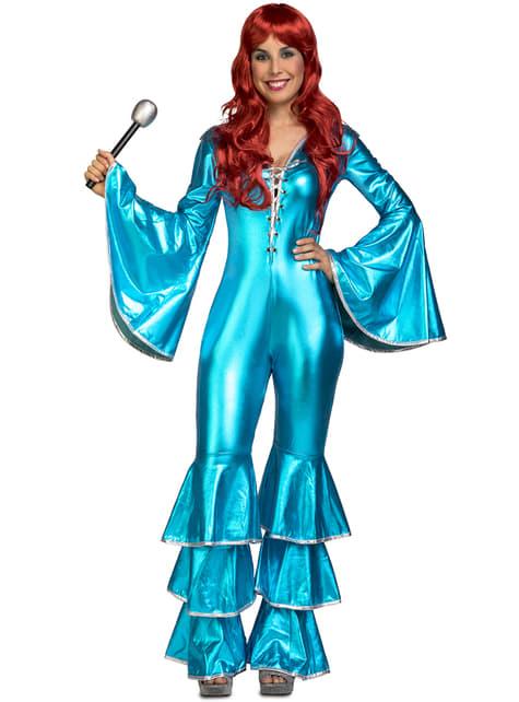 Disfraz de cantante disco años 70 turquesa para mujer