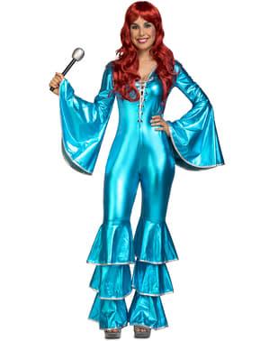 Costum de cântăreț disco anii 70 turcoaz pentru femeie