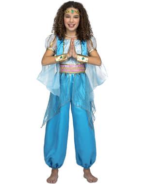 Disfarce de princesa árabe azul para menina