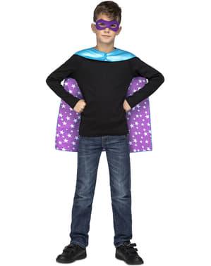 Blått superhelt kappe med stars til barn