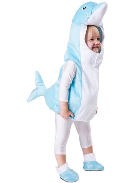 Bebekler için açık mavi yunus kostümü