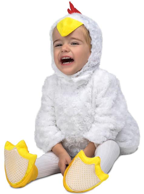 Disfraz de pollito de peluche blanco infantil
