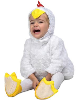Fato de franguinho de peluche branco infantil