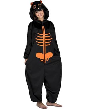 Oranje skelet onesie kostuum voor kinderen