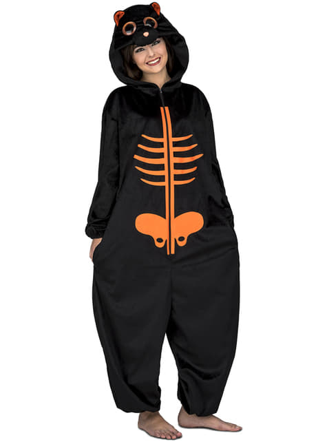 Disfraz de esqueleto naranja onesie para adulto
