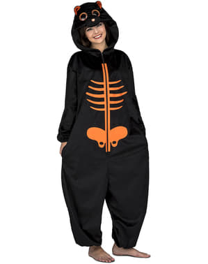 Oranje skelet onesie kostuum voor volwassenen