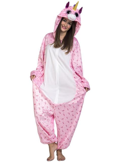 Disfraz de unicornio rosa adorable onesie para adulto