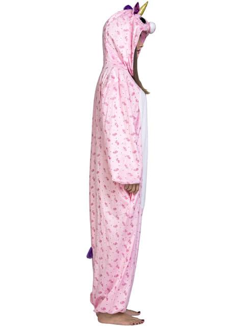 Fato de unicórnio cor-de-rosa adorável onesie para adulto