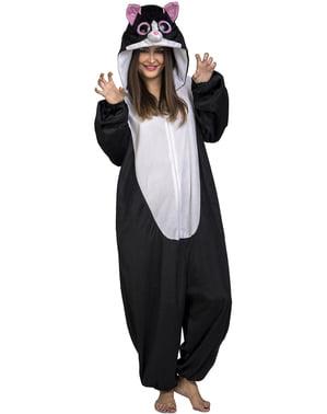 Svart katte onesie kostyme til voksne